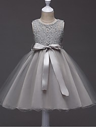cheap -Ball Gown Short / Mini Flower Girl Dress - Organza Sleeveless Jewel Neck with Lace / Sash / Ribbon / Ruched by / Elegant