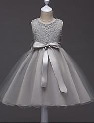 abito di sfera breve / mini vestito dalla ragazza del fiore - collo organizzato senza giunte del gioiello con il nastro da ydn