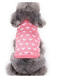 Dog Sweater Dog Clothes Christmas Casual/Daily Fashion Cartoon Pink Costume For Pets
