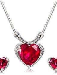 Ciondoli da bicchiere Collana Orecchini Set L'imitazione di Ruby Di tendenza Euramerican Cristallo Lega A forma di cuore1 collana 1 paio