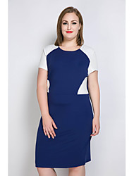 cheap -Really Love Women's Plus Size Street chic Bodycon Shift Tunic Dress - Color Block