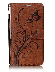 cheap -Case For Huawei Card Holder Wallet with Stand Flip Magnetic Embossed Full Body Cases Solid Color Butterfly Tree Hard PU Leather for P10