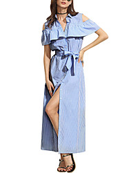 Women's Going out Casual/Daily Holiday Sexy Simple Street chic Layered Split Bow Sheath DressStriped Shirt Collar Maxi Short Sleeve Spring Summer