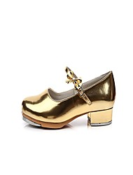 "Women's Tap Patent Leather Heel Indoor Bow(s) Low Heel Gold 1"" - 1 3/4"" Non Customizable"