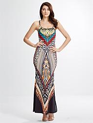 Žene Korice Haljina - S izrezom Print S naramenicama Maxi