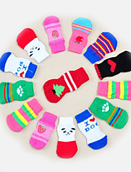 Cat Dog Socks Cute Casual/Daily Keep Warm Stripe Cartoon Pinky White/White Light gray Random Color black+black For Pets