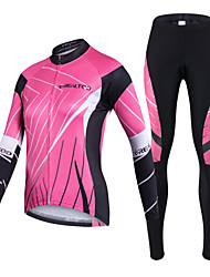 cheap -Realtoo Cycling Jersey with Tights Women's Long Sleeves Bike Clothing Suits Quick Dry Ultraviolet Resistant Front Zipper Breathable