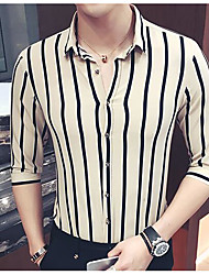 cheap -Men's Plus Size Cotton Slim Shirt - Striped Stripe Classic Collar / Long Sleeve