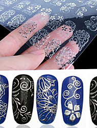 cheap -108 Pcs 3D Silver Flower Nail Art Stickers Decals Stamping Hollow Sticker DIY Decoration Tools