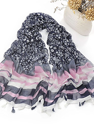 cheap -Women's Chiffon Scarf Cute Party Casual Rectangle Black/Fuchsia/Navy Blue/Green/Wine Print Tassels Scarves Polyester