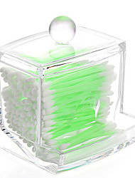 cheap -Acrylic Transparent Portable Cotton Pads Cotton Swab Container Box Makeup Cosmetics Storage Drawer Holder Box Cosmetic Organizer with Lid