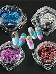 4bottle / set nouvelle mode élégante style nail art diy beauté glitter fine tranche laser rayure rhombus design éblouissant paillette
