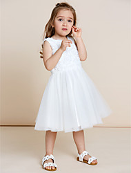 cheap -A-Line Knee Length Flower Girl Dress - Tulle Sleeveless Jewel Neck with Applique by thstylee