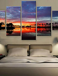 Art Print Landscape Modern,Five Panels Horizontal Print Wall Decor For Home Decoration