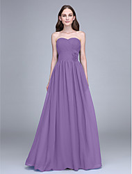 cheap -Sheath / Column Strapless Floor Length Chiffon Bridesmaid Dress with Flower(s) Criss Cross by LAN TING BRIDE®
