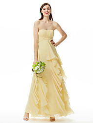 cheap -Sheath / Column Strapless Sweetheart Floor Length Chiffon Bridesmaid Dress with Draping Cascading Ruffles by LAN TING BRIDE®