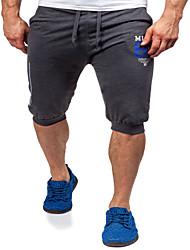 Da uomo A vita medio-alta Semplice Moda città Attivo Elastico Pantaloni della tuta Pantaloncini Pantaloni,Largo DrittoTinta unita