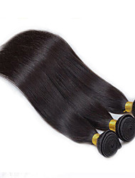 baratos -Cabelo Peruviano Liso Cabelo Virgem Cabelo Humano Ondulado 3 pacotes 8-26polegada Tramas de cabelo humano Preto Natural / Reto