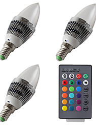 cheap -3pcs 3W 300-400lm E14 LED Candle Lights 1 LED Beads High Power LED Dimmable Remote-Controlled RGB 85-265V 12V