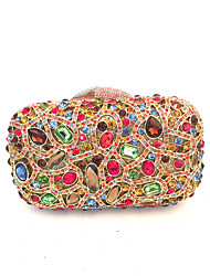 Women Bags All Seasons PU Metal Clutch Crystal/ Rhinestone for Wedding Event/Party Formal Office & Career Silver Red