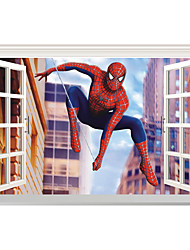 cheap -3D Cartoon Window Wall Stickers Movie Film Character/ Figure Spiderman PVC Wall Decals Home Decoration For Kids Room