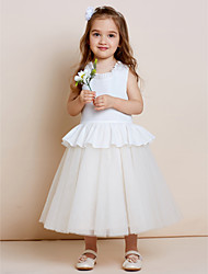 A-Line Tea Length Flower Girl Dress - Cotton Tulle Sleeveless Jewel Neck with Draping by thstylee