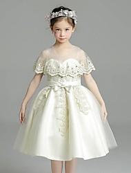 abito di sfera breve / mini vestito dalla ragazza del fiore - collo di gioiello dei manicotti del bicchierino del organza con il nastro da ydn