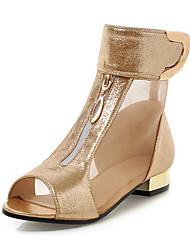 economico -Da donna Scarpe Finta pelle Primavera Estate Comoda Club Shoes Sandali Basso Quadrato Punta aperta Cerniera Chiusura a strappo o