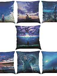 cheap -Set of 7 Fantasy Wonderland Pattern Linen  Cushion Cover Home Office Sofa Square  Pillow Case Decorative Cushion Covers Pillowcases As a Gift