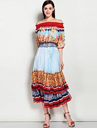 baratos -Mulheres Feriado / Praia Boho / Moda de Rua Manga Princesa Solto balanço Vestido - Estilo Artístico, Floral Decote Canoa Médio
