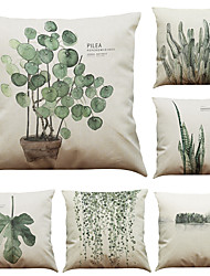 cheap -Set of 6 Tropical Rain Forest Ferns  Pattern Linen Pillowcase Sofa Home Decor Cushion Cover  Throw Pillow Case (18*18inch)