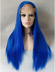 cheap -Long Straight Blue Candy Colored Cosplay Heat Resistant Lace Front Wig