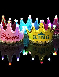 cheap -1Pcs Luminous Led Cap Princess Happy Birthday Party Decorations Crown Led Kids Birthday Cap Hat Festival Decorations Ramdon Color