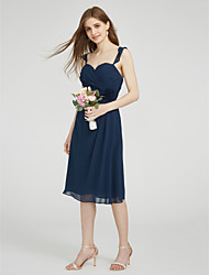 cheap -Sheath / Column Straps Knee Length Chiffon Bridesmaid Dress with Criss Cross Ruching by LAN TING BRIDE®