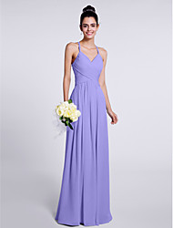 cheap -Sheath / Column Spaghetti Straps Floor Length Chiffon Bridesmaid Dress with Criss Cross by LAN TING BRIDE®