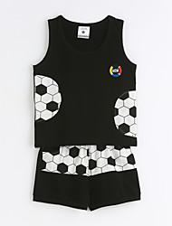 Drenge Indstiller Afslappet/Hverdag Geometrisk,Bomuld Sommer Kortærmet Tøjsæt