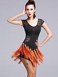abordables -Baile Latino Vestidos Mujer Representación Encaje Viscosa Encaje 2 Piezas Mangas cortas Cintura Media Vestido Pantalones cortos