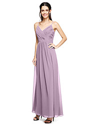 cheap -Sheath / Column Spaghetti Straps Floor Length Chiffon Bridesmaid Dress with Ruched Criss Cross by LAN TING BRIDE®
