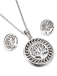 Women's Jewelry Set Friendship Fashion Simple Style Classic Stainless Steel Tree of Life 1 Necklace 1 Pair of Earrings ForWedding Party