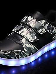 cheap -LED's Shoes Boys' Sneakers Summer Fall Light Up Shoes Camo Synthetic Outdoor Athletic Casual Flat Heel Hook & Loop Black/Yellow Black White