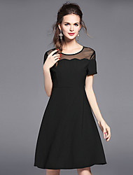 Women's Going out Casual/Daily Sexy Simple Little Black Dress,Solid Round Neck Above Knee Short Sleeve Polyester Spandex Summer Mid Rise