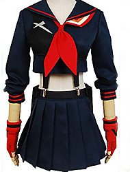 cheap -Inspired by KILL la KILL Schoolgirls Anime Cosplay Costumes Cosplay Suits Solid Colored Long Sleeve Top / Skirt / Gloves For Women's Halloween Costumes