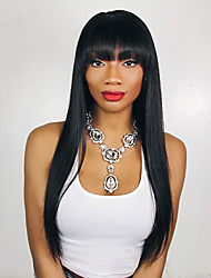 Natural Black Color Long Length Straight Lace Front Wigs With Bangs Brazilian Virgin Human Hair With Baby Hair For Women