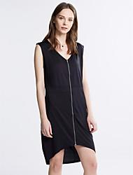 cheap -Women's Plus Size Club Bodycon Dress - Solid Colored Black, Split Asymmetrical V Neck