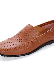 Men's Shoes Cowhide Spring Summer Moccasin Loafers & Slip-Ons For Casual Outdoor Office & Career Black Light Brown Dark Brown