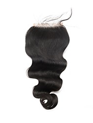 cheap -8-18 Inch Body Wave Malaysian Virgin Hair Free/Middle/Three Part Lace Closure 4x4inches Natural Color