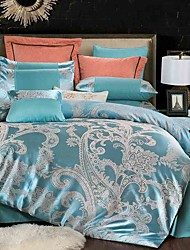 Duvet Cover Sets Floral 4 Piece Silk/Cotton Blend Jacquard Silk/Cotton Blend 4pcs (1 Duvet Cover, 1 Flat Sheet, 2 Shams)