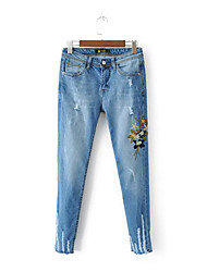 Women's Embroidery Slim Jeans Pants,Going out Casual/Daily Simple Street chic Solid Mid Rise Zipper Polyester Micro-elastic Fall Winter