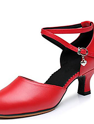 """cheap -Women's Latin Leather Sandal Outdoor Buckle Chunky Heel Gold Black Silver Red 1"""" - 1 3/4"""" Non Customizable"""
