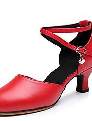 Для женщин Латина Кожа Сандалии Для открытой площадки С пряжкой На толстом каблуке Золотой Черный Серебряный Красный 5 см Не